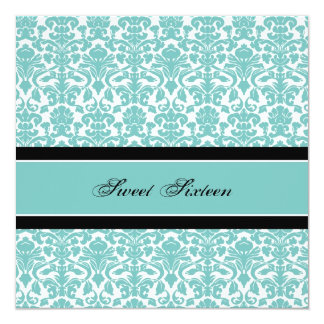 Teal Damask 16th Birthday Party Invitations