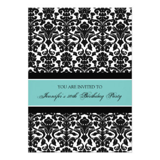 Teal Damask 30th Birthday Party Invitations