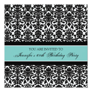 Teal Damask 60th Birthday Party Invitations