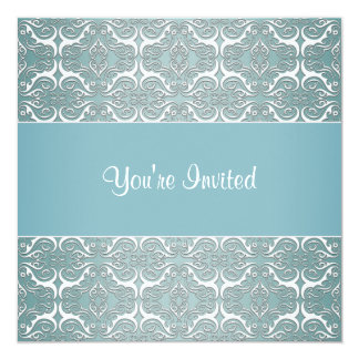 Teal Damask All Occasion Party Template Invites
