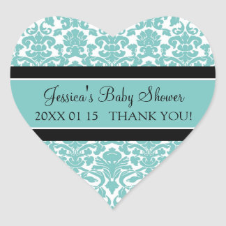 Teal Damask Baby Shower Favour Stickers