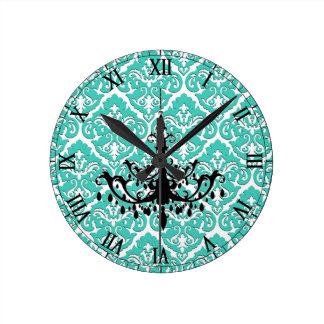 Teal Damask Black Chandelier Clocks