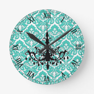 Teal Damask Black Chandelier Round Clock