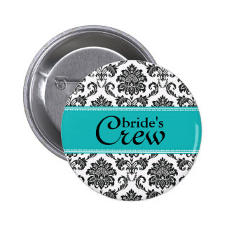 Teal Damask Bride's Crew Button