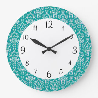 Teal Damask Clock