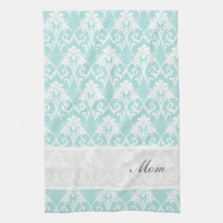 Teal Damask Custom Tea Towel Kitchen