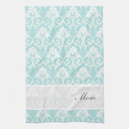 Tea Towels Unique: Teal Damask Custom Tea Towel Kitchen
