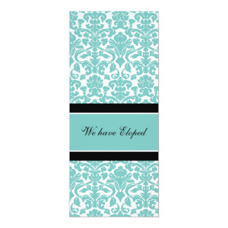 Teal Damask Elopement Announcement Cards