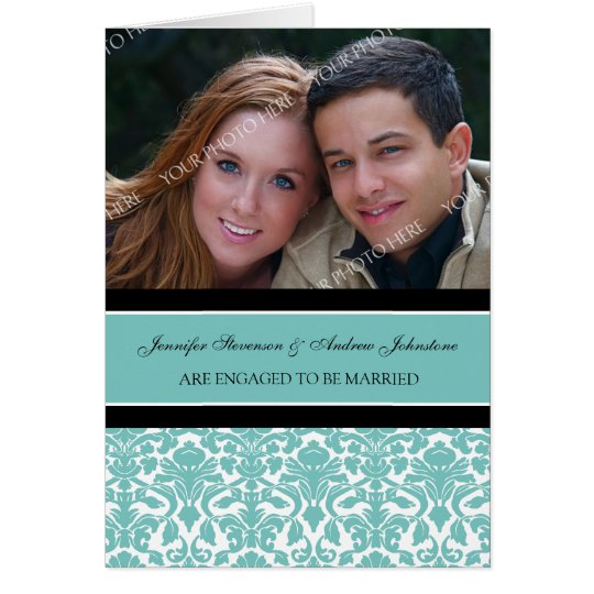 Teal Damask Engagement Photo Announcement Card