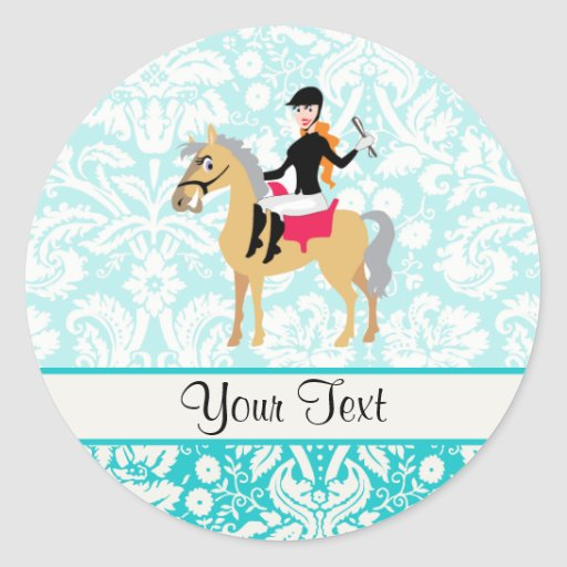 Teal Damask Equestrian Stickers