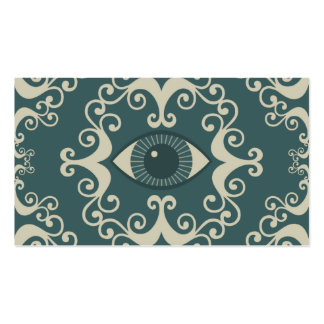 Teal Damask Eyeball Psychic Reader Cards Business Cards