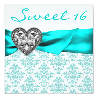 """Teal Damask Heart Teal Blue Sweet 16 Party 5.25"""" Square Invitation Card"""
