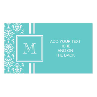 Teal Damask Pattern 1 with Monogram Pack Of Standard Business Cards