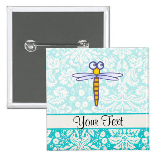 Teal Damask Pattern Dragonfly Pinback Buttons