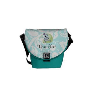 Teal Damask Pattern Fencing Commuter Bag