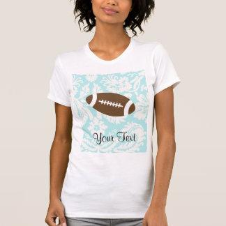 Teal Damask Pattern Football Tee Shirt
