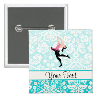 Teal Damask Pattern Ice Skating 15 Cm Square Badge