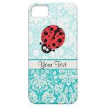Teal Damask Pattern Ladybug
