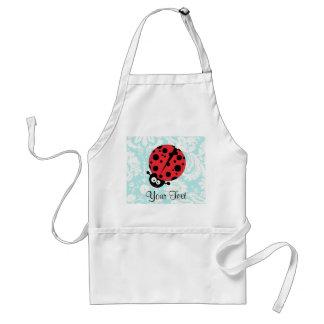 Teal Damask Pattern Ladybug Standard Apron