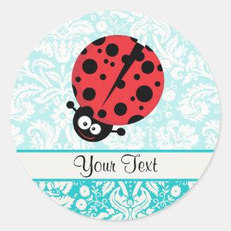 Teal Damask Pattern Ladybug Round Sticker