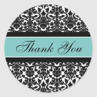 Teal Damask Thank You Wedding Envelope Seals Round Sticker