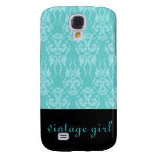 Teal Damask Vintage Case Galaxy S4 Cover
