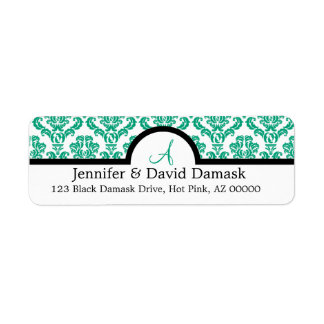Teal Damask Wedding Monogram Address Labels