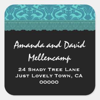 Teal Damask Wedding Return Address Labels Stickers