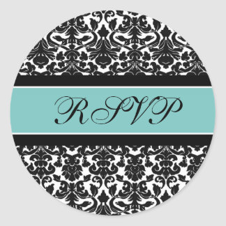 Teal Damask Wedding RSVP Envelope Seals Round Sticker