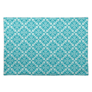 Teal Damask Woven Cotton Placemats