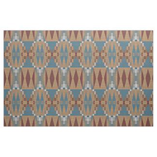 Teal Dark Red Tan Brown Ethnic Mosaic Pattern Fabric