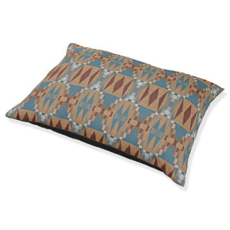 Teal Dark Red Tan Brown Ethnic Mosaic Pattern Pet Bed
