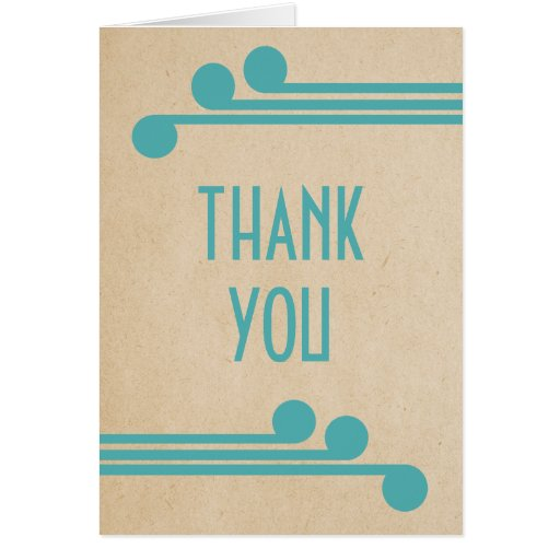 Teal Deco Chic Thank You Card