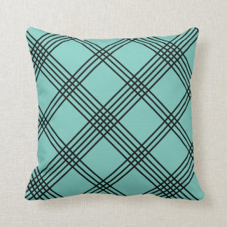 Teal Diagonal Plaid American MoJo Pillo Pillow