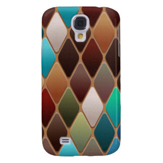 Teal Diamond Mosaic Galaxy S4 Cases