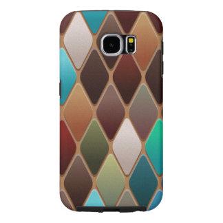 Teal Diamond Mosaic Samsung Galaxy S6 Cases