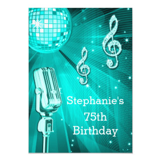 Teal Disco Ball and Retro Microphone 75th Birthday Card