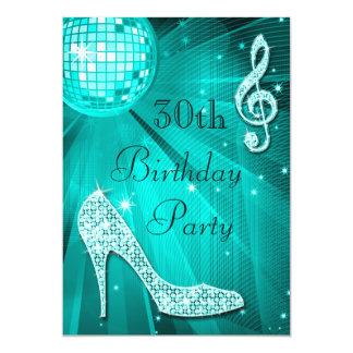 Teal Disco Ball and Sparkle Heels 30th Birthday 13 Cm X 18 Cm Invitation Card