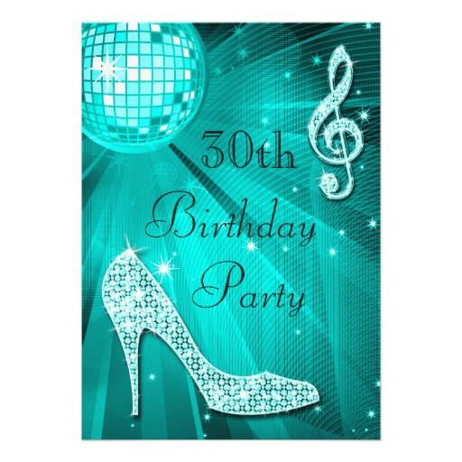 Teal Disco Ball and Sparkle Heels 30th Birthday Personalized Invites