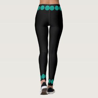 Teal Dots on Black 4Tina Leggings