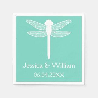 Teal Dragonfly Wedding Disposable Serviette