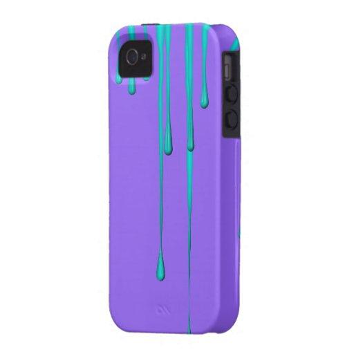 Teal Dripper Purple iPhone 4 Case-Mate Tough