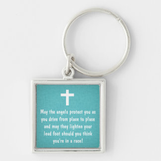 Teal Driver's Prayer Blessing Keychain
