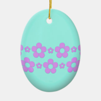 Teal Easter Egg With Flowers Ceramic Oval Decoration
