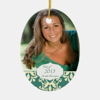 Teal elegant damask graduation photo ornament