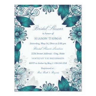 Teal Elegant Floral   Bridal Shower Invitation