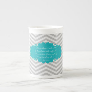 Teal elegant Jane Austen bone china mug