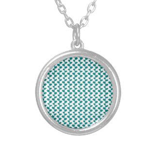 Teal Elegant Modern Chic Leaf Pattern Custom Necklace