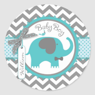 Teal Elephant Bow-tie Chevron Print Baby Shower Classic Round Sticker