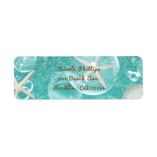 Teal Enchanted Sea Starfish & Bubbles Ocean Party Return Address Label
